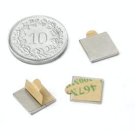 Q-10-10-01-STIC Parallélépipède magnétique autocollant 10 x 10 x 1 mm, néodyme, N35, nickelé