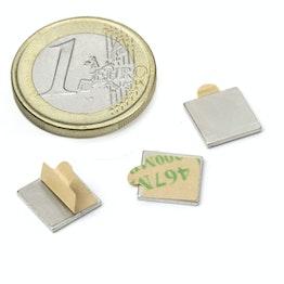 Q-10-10-01-STIC Parallelepipedo magnetico autoadesivo 10 x 10 x 1 mm, neodimio, N35, nichelato
