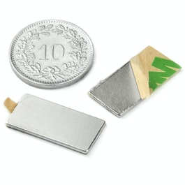 Q-20-10-01-STIC Bloque magnético adhesivo 20 x 10 x 1 mm, neodimio, N35, niquelado