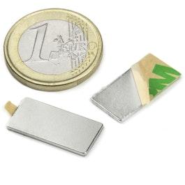 Q-20-10-01-STIC Blokmagneet zelfklevend 20 x 10 x 1 mm, neodymium, N35, vernikkeld