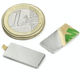 Q-20-10-01-STIC Block magnet self-adhesive 20 x 10 x 1 mm, holds approx. 800 g, neodymium, N35, nickel-plated