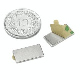 Q-15-08-01-STIC Parallélépipède magnétique autocollant 15 x 8 x 1 mm, néodyme, N35, nickelé