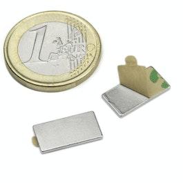 Q-15-08-01-STIC Bloque magnético adhesivo 15 x 8 x 1 mm, neodimio, N35, niquelado