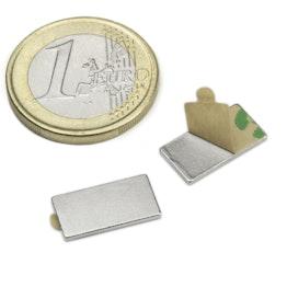 Q-15-08-01-STIC Bloque magnético adhesivo 15 x 8 x 1 mm, sujeta aprox. 600 g, neodimio, N35, niquelado