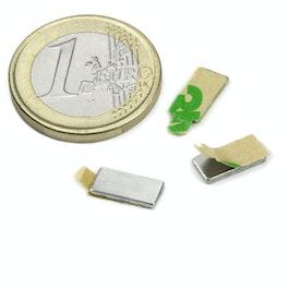 Q-10-05-01-STIC Block magnet self-adhesive 10 x 5 x 1 mm, neodymium, N35, nickel-plated