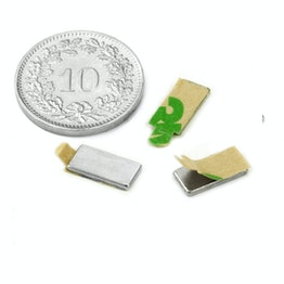 Q-10-05-01-STIC Parallélépipède magnétique autocollant 10 x 5 x 1 mm, néodyme, N35, nickelé