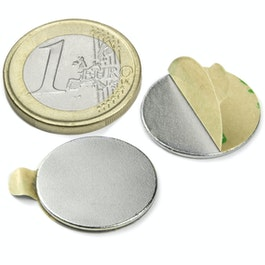 S-20-01-STIC Disc magnet self-adhesive Ø 20 mm, height 1 mm, neodymium, N35, nickel-plated