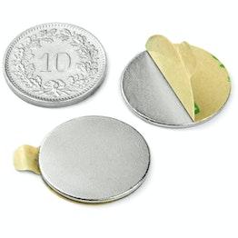 S-20-01-STIC Disco magnetico autoadesivo Ø 20 mm, altezza 1 mm, neodimio, N35, nichelato