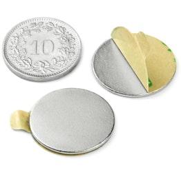 S-20-01-STIC Schijfmagneet zelfklevend Ø 20 mm, hoogte 1 mm, houdt ca. 1.1 kg, neodymium, N35, vernikkeld