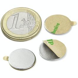 S-15-01-STIC Disco magnetico autoadesivo Ø 15 mm, altezza 1 mm, neodimio, N35, nichelato