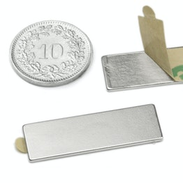 Q-30-10-01-STIC Block magnet self-adhesive 30 x 10 x 1 mm, neodymium, N35, nickel-plated