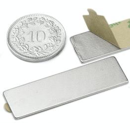 Q-40-12-01-STIC Block magnet self-adhesive 40 x 12 x 1 mm, neodymium, N35, nickel-plated