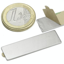 Q-40-12-01-STIC Block magnet self-adhesive 40 x 12 x 1 mm, neodymium, N35, nickel-plated