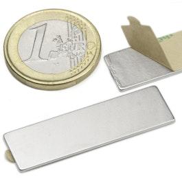 Q-40-12-01-STIC Bloque magnético adhesivo 40 x 12 x 1 mm, neodimio, N35, niquelado