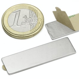 Q-40-12-01-STIC Quadermagnet selbstklebend 40 x 12 x 1 mm, Neodym, N35, vernickelt