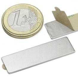 Q-40-12-01-STIC Blokmagneet zelfklevend 40 x 12 x 1 mm, houdt ca. 1,2 kg, neodymium, N35, vernikkeld