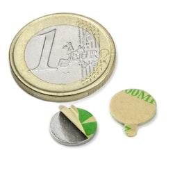 S-10-01-STIC Scheibenmagnet selbstklebend Ø 10 mm, Höhe 1 mm, Neodym, N35, vernickelt