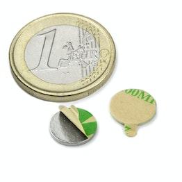 S-10-01-STIC Scheibenmagnet selbstklebend Ø 10 mm, Höhe 1 mm, hält ca. 540 g, Neodym, N35, vernickelt