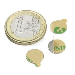 S-10-0.6-STIC Disco magnético adhesivo Ø 10 mm, alto 0,6 mm, sujeta aprox. 310 g, neodimio, N35, niquelado