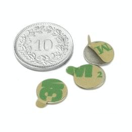 S-9.5-0.75-STIC Disque magnétique autocollant Ø 9.5 mm, hauteur 0.75 mm, néodyme, N35, nickelé