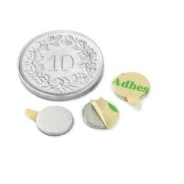 S-08-0.75-STIC Disc magnet self-adhesive Ø 8 mm, height 0.75 mm, neodymium, N35, nickel-plated