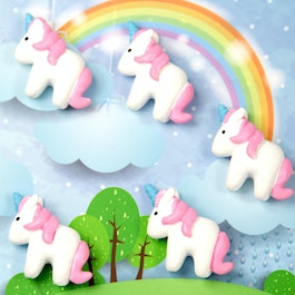 Unicorn fridge magnets shaped as unicorns, white-pink, set of 5
