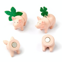 Piggy magnets pink pig-shaped fridge magnets, 3x front side, 3x back side, set of 6