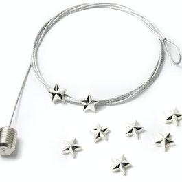 Fil porte-photos étoile 1,5 m avec boucle et poids en acier, 8 aimants étoiles incl.