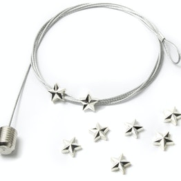 Fil porte-photos 'Star' 1,5 m câble d'acier avec boucle et poids en acier, 8 aimants étoiles incl.