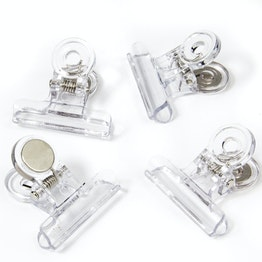 Magnetic clips 'Graffa' transparent made of plastic, set of 4