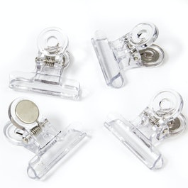 Magnetic clips transparent made of plastic, set of 4