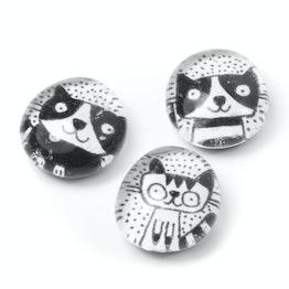 Katten handgemaakte koelkastmagneten, set van 3, zwart-wit