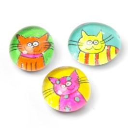 Katzen handgemachte Kühlschrankmagnete, 3er-Set, Neonfarben