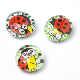 Glass magnets lucky charm handmade fridge magnets, set of 3, ladybird