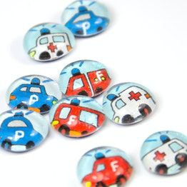 Glass magnets rescue vehicles handmade fridge magnets, set of 3