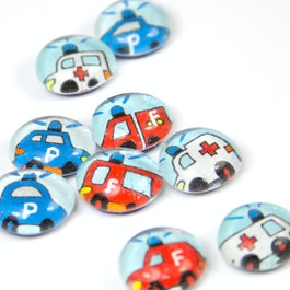 Rescue vehicles handmade fridge magnets, set of 3