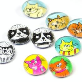 Glasmagneten katten handgemaakte koelkastmagneten, set van 3