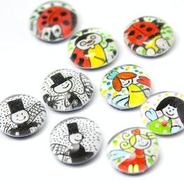 Glasmagneten Talismans handgemaakte koelkastmagneten, set van 3