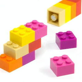 Building blocks colourful Girls with press-fitted magnets, assorted, set of 12