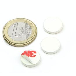 PAS-13-W Disco metallico autoadesivo bianco Ø 13 mm, come controparte per i magneti, non è un magnete!