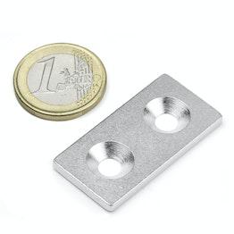 MC-40-20-03 Plaquitas metálicas con taladro avellanado 40x20x3 mm, como contrapieza para imanes, ¡no es un imán!