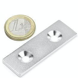 MC-60-20-03 Piastrina metallica con foro svasato 60x20x3 mm, come controparte per i magneti, non è un magnete!