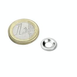 MD-12 Disco metallico con foro svasato Ø 12 mm, come controparte per i magneti, non è un magnete!