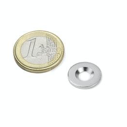 MD-15 Metallscheibe mit Senkbohrung Ø 15 mm, als Gegenstück zu Magneten, kein Magnet!