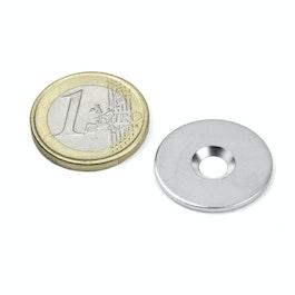 MD-23 Disco metallico con foro svasato Ø 23 mm, come controparte per i magneti, non è un magnete!