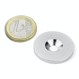 MD-27 Metal disc with counterbore Ø 27 mm, as a counterpart to magnets, not a magnet!