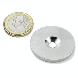 MD-34 Metalen schijfje met verzonken gat Ø 34 mm, als tegenstuk voor magneten, geen magneet!
