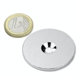 MD-42 Metal disc with counterbore Ø 42 mm, as a counterpart to magnets, not a magnet!