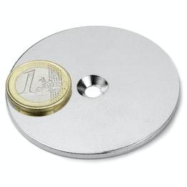 MD-62 Disco metallico con foro svasato Ø 62 mm, come controparte per i magneti, non è un magnete!