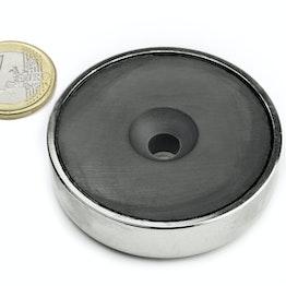 CSF-60 Magnete in ferrite con base in acciaio, tiene ca. 36 kg, con foro svasato, Ø 60 mm
